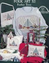 Folk Art XI Feather Trees Homespun Elegance Cross Stitch Pattern Leaflet - $4.47