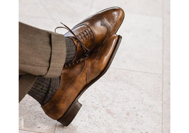Handmade Men's Brown Wing Tip Heart Medallion Lace Up Dress Oxford Leather Shoes image 1