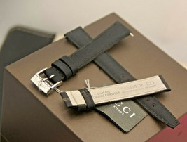New Gucci 14 MM Silk on Genuine Leather Watch Band - Black -  14.112 - $29.95