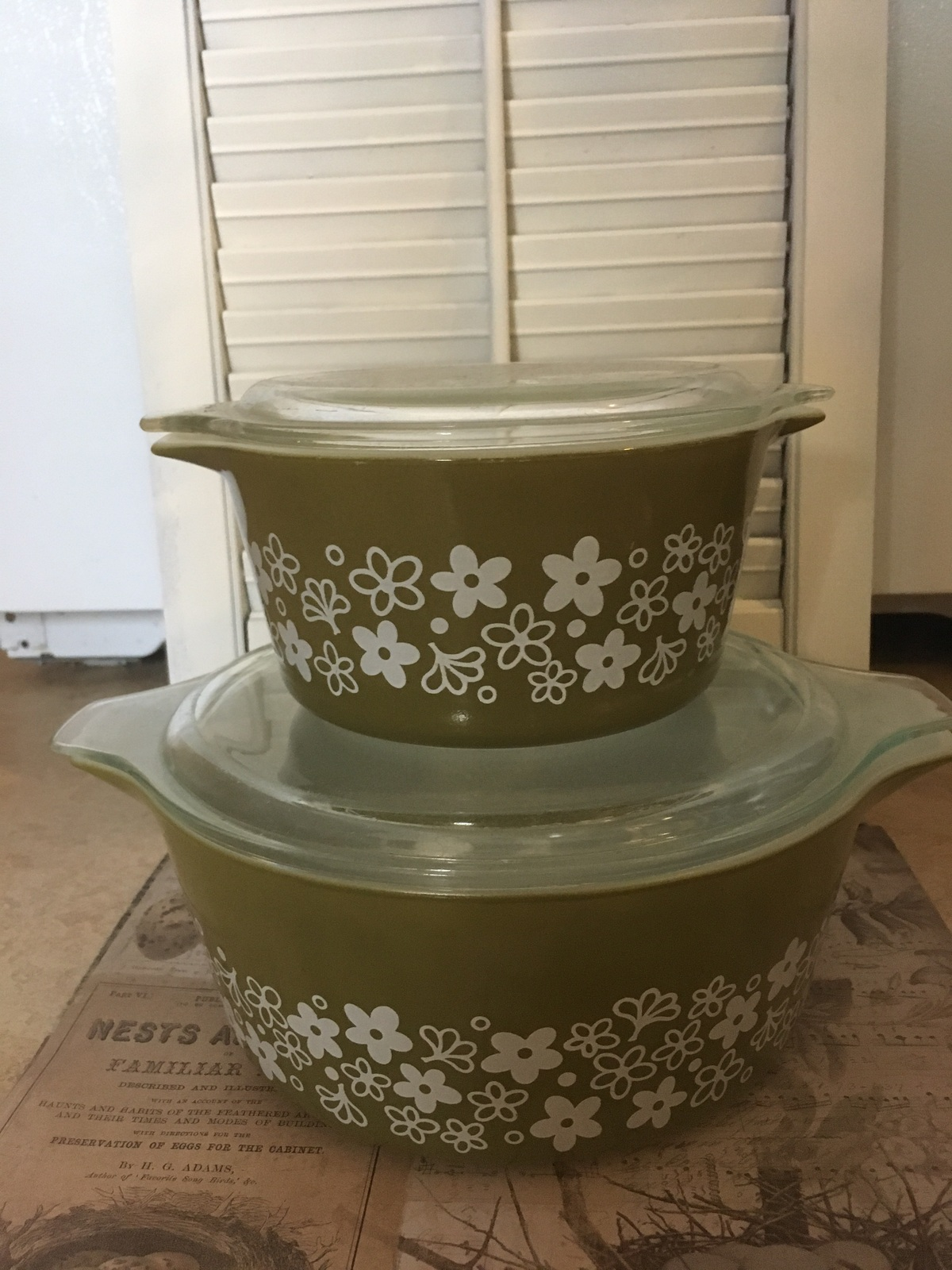 Two Pyrex Spring Blossom Casserole Dishes 475 & 473 Pyrex Collectible Kitchen