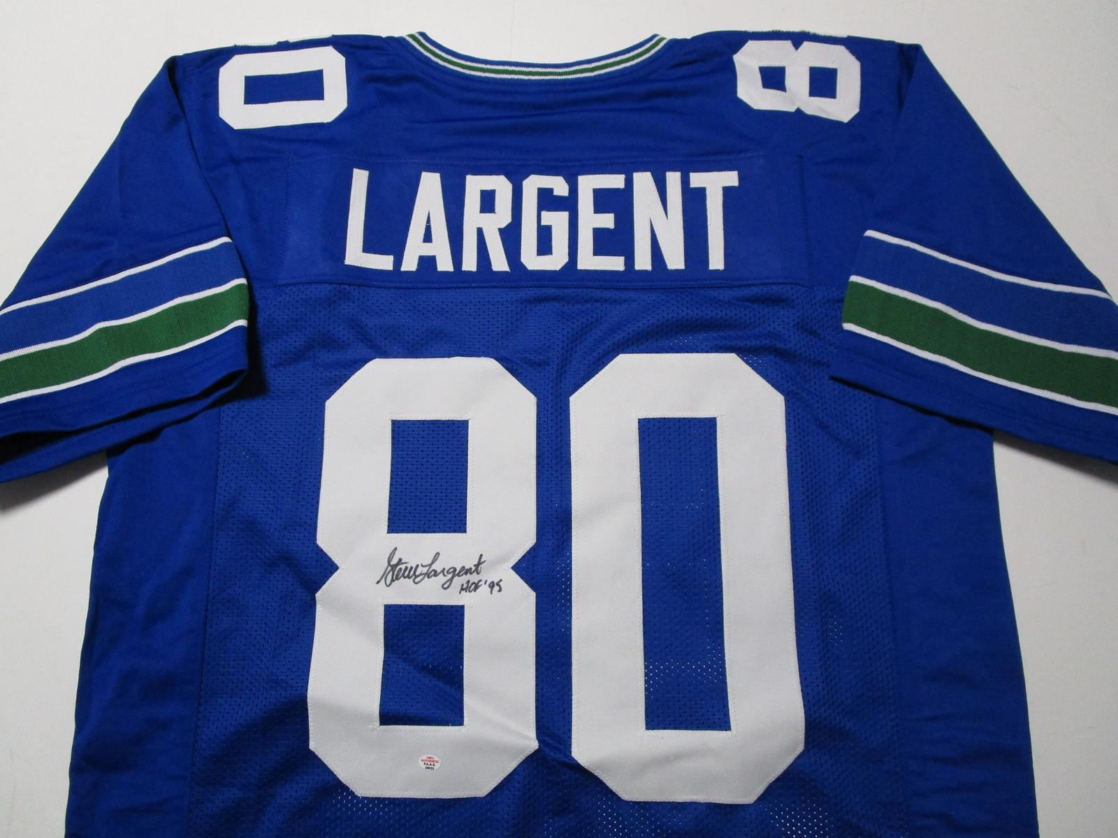 STEVE LARGENT / NFL HALL OF FAME / AUTOGRAPHED SEAHAWKS BLUE CUSTOM JERSEY / COA