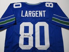 STEVE LARGENT / NFL HALL OF FAME / AUTOGRAPHED SEAHAWKS BLUE CUSTOM JERSEY / COA image 1