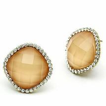 Women's Brass IP Gold Synthetic Clear Orange Square Earrings - $29.15