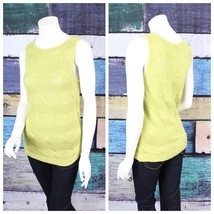 Talbots Petites Medium PM Lime Green Linen Sleeveless Cable Knit Sweater... - $14.84