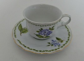 Truly Tasteful Fine China Purple Floral Cluster Tea Coffee Cup and Saucer  - $14.73