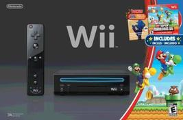 Wii Black Console with New Super Mario Brothers Wii and Music CD [Ninten... - $189.00