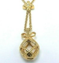 Vintage Joan Rivers Gold Egg Bow Cage Pendant Chain  - $35.95