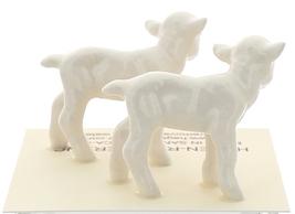 Hagen-Renaker Miniature Ceramic Lamb Figurine Baby White Set of 2 image 3