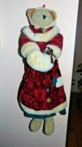 Vtg Enesco Christmas Bear Corduroy Dress Velvet Coat Buttons Patches 1996 - $14.84
