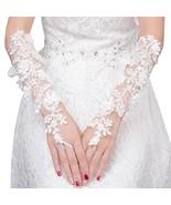 Elegant Lady Formal Banquet Party Bride Pierced Lace Wedding Gloves Brid... - $17.16