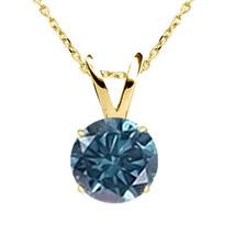 "0.35CT TCW Blue Diamond 14K Yellow Gold Solitaire Pendant Necklace 18"" C... - $173.11"