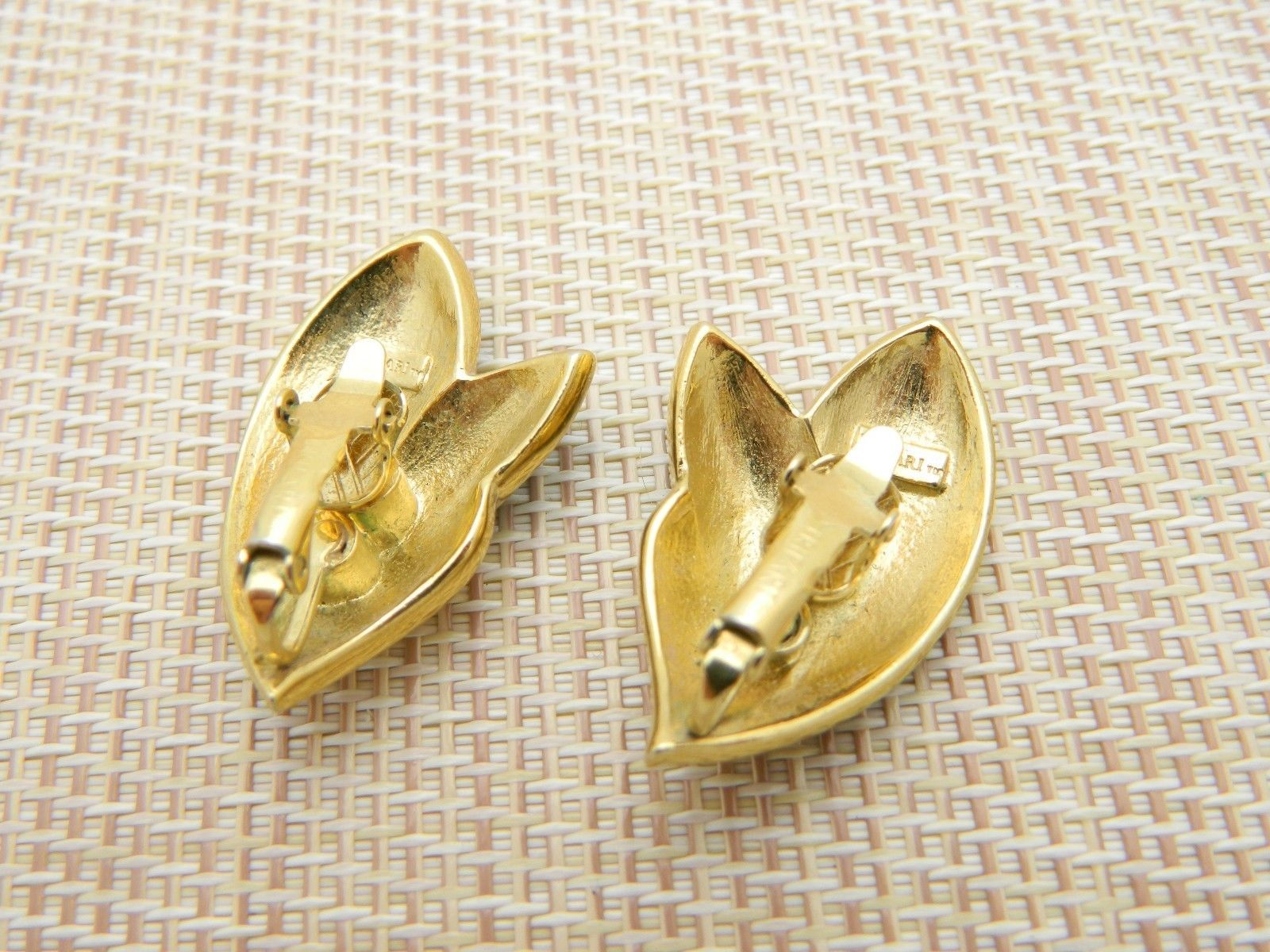 Trifari TM Black Enamel Abstract Leaf Shape Gold Tone Clip Earrings