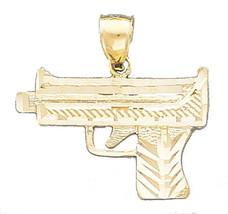 Gun Charm Pendant 14k Solid Yellow Gold Pendant -  Gun Pendant - $246.80