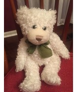 White Teddy Bear With Green Bow First & Main Scraggles Curly Hair Plush... - $28.71