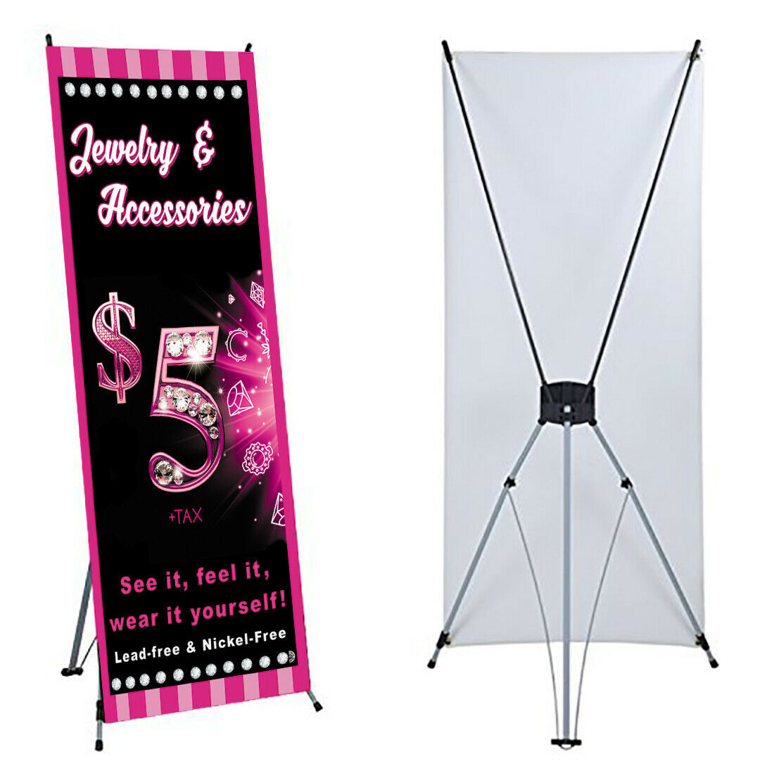 """Jewelry Banner X stand Included 24""""x 63"""" Events For Paparaz  Consultant Sales"""