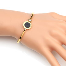 UE- Gold Tone Designer Bangle Bracelet With Faux Onyx & Swarovski Style ... - $18.99