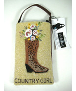 Bamboo Co Cell Phone or Club Bag, Beaded Country Girl Cowboy! Wrist Or S... - $28.35