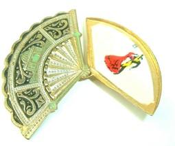 VTG Brooch Spanish Fan Flamenco Dancer Pin slider movement folding damas... - $19.79
