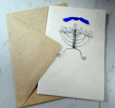 Lot of 6 Hand Crafted Blank Note Cards Wire Design Jewish Menorah Pearl ... - $14.84
