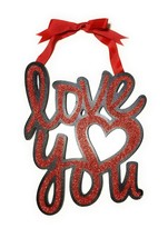 Valentine's Day Love You Heart Wall, Door Sign with Ribbon Hanger Party ... - £13.28 GBP