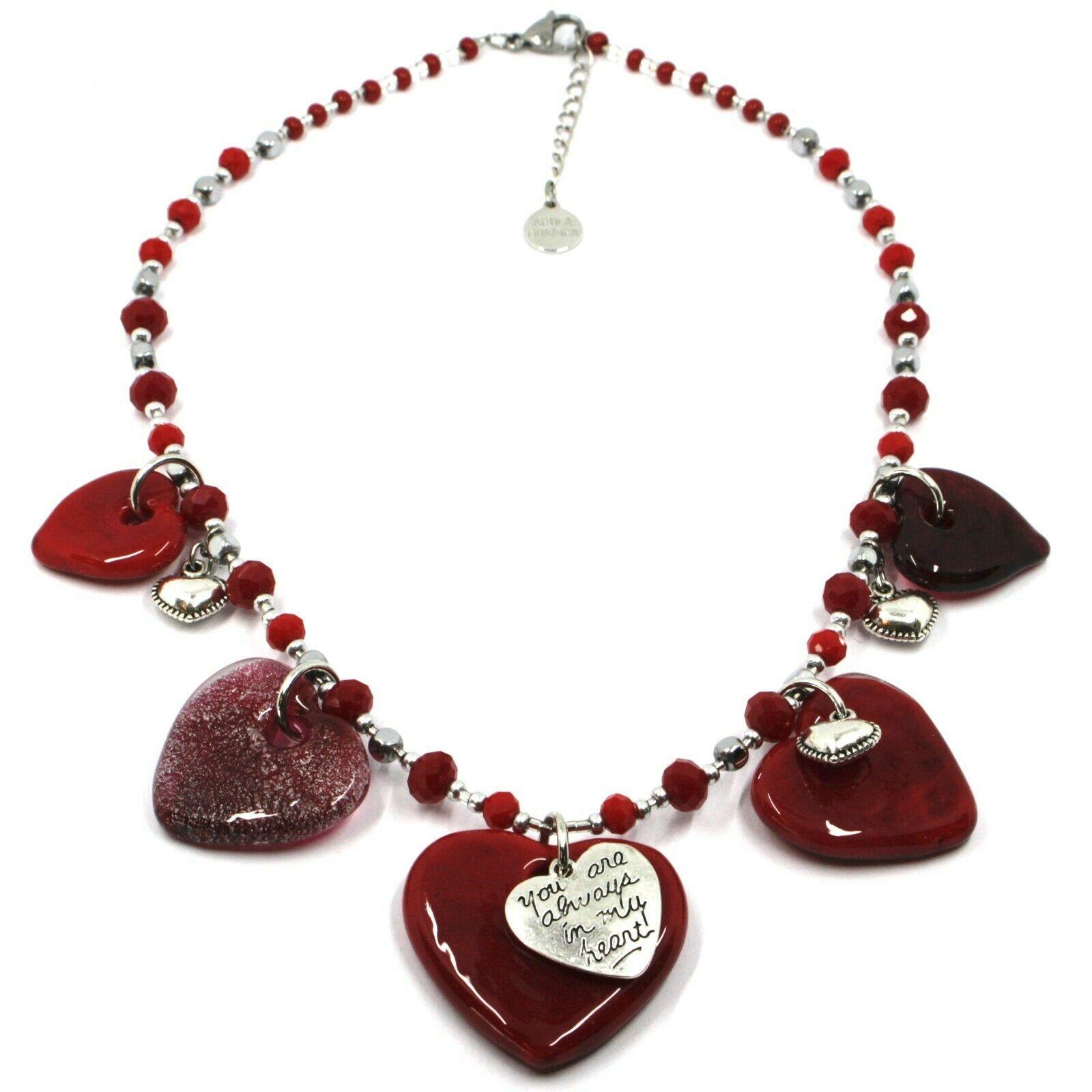 Necklace Antica Murrina Venezia, COB59A11, 5 Hearts Glass Red Hanging