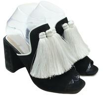 Gianni Bini Womens Black Leather Tassel Fringe Slip-on Block Heel Mules Size 8 - $32.66