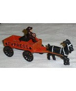 "8"" Black Goat Drawn Express Wagon Cart W/ Driver - Cast Iron Collectible... - $17.45"