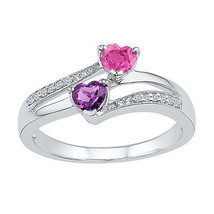 Sterling Silver Womens Heart Lab-Created Amethyst Pink Sapphire Bypass Ring - £40.72 GBP