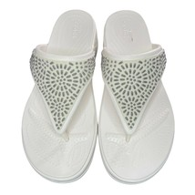 NEW Crocs Monterey Diamante Embellished T-Strap Wedge Sandal - White - $34.63