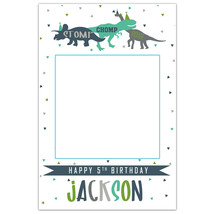 Dinosaurs and Triangles Birthday Social Media Selfie Frame Photo Prop Poster - $16.34+