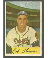 1954 BOWMAN #201 BOBBY THOMSON BRAVES FAIR MARKED CREASES FREE SHIPPING - $2.99