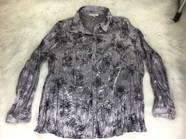 JM Collection Women's Gray Floral Blouse Size 18W - $18.79