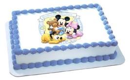 Deco Disney Babies Mickey & Minnie Birthday Wishes Edible Image Cake Dec... - $9.85