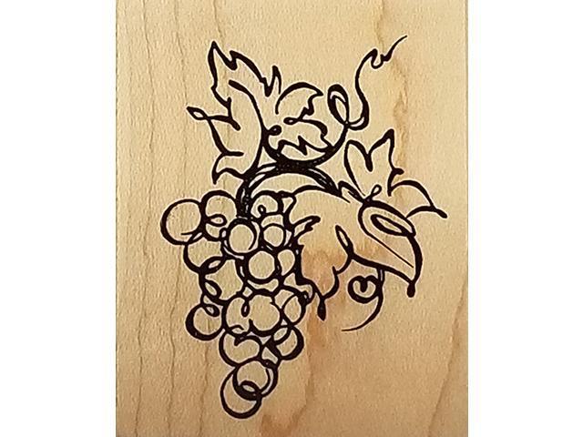 vintage 1999 PSX-Grape Vine-Wood mounted Rubber Stamp #D-2425