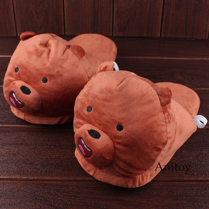 We Bare Bears Cartoon Bear Grizzly Panda Ice Bear Adult Plush Slippers Winter In image 2