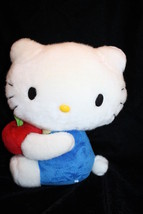 "HELLO KITTY CAT 10"" Holding Red Apple Plush Soft Toy Blue Stuffed Sanrio... - $16.35"