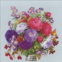RIOLIS Counted Cross Stitch Kit, Bouquet With Asters, Kit #R1773 - $43.03