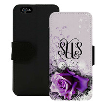 PERSONALIZE WALLET CASE FOR iPHONE X 8 7 6 5 5C SE PLUS LIGHT PURPLE ROSE - $15.98