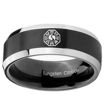 Lost Dharma 8mm Black 2 Tone Beveled Tungsten Carbide Ring - $43.99