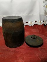 """VINTAGE HAND TURNED COVERED CLAY CANISTER / HUMIDOR 6.5"""" TALL WITH LID image 5"""