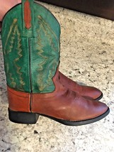 OLD WEST Brown Green Leather Cowboy Boots Toddler Style 1905 SIZE 020 • ... - £15.30 GBP