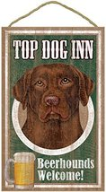 "Chocolate Lab, Top Dog Inn 10"" x 16"" Wood Plaque, Sign - $19.99"