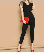 Black V Neck Cap Sleeve Dot Mesh Armhole Unitard Skinny Jumpsuit Top Pants - $44.99