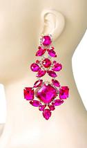 "4.75"" Long Fuchsia Hot Pink Rhinestones Oversized Clip On  Earrings Drag Queen - $28.21"