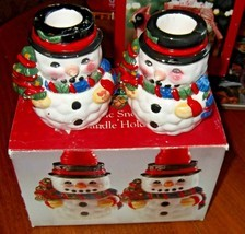 Vintage Snowman Candlesticks pair - $7.69