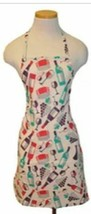 "Printed Fabric Cotton Kitchen Apron (19""x30"") WINE BOTTLES, GLASSES & GR... - $11.87"