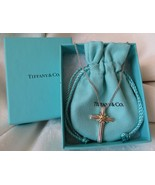 """Tiffany & Co. 18k Gold & Sterling Silver Cross Pendant Necklace18"""" Chain... - $190.00"""