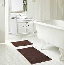 "Kara Short Pile Chenille 2 Piece Bath Mat Set, 20"" x 32""/17"" x 24"" Dark ... - $18.69"