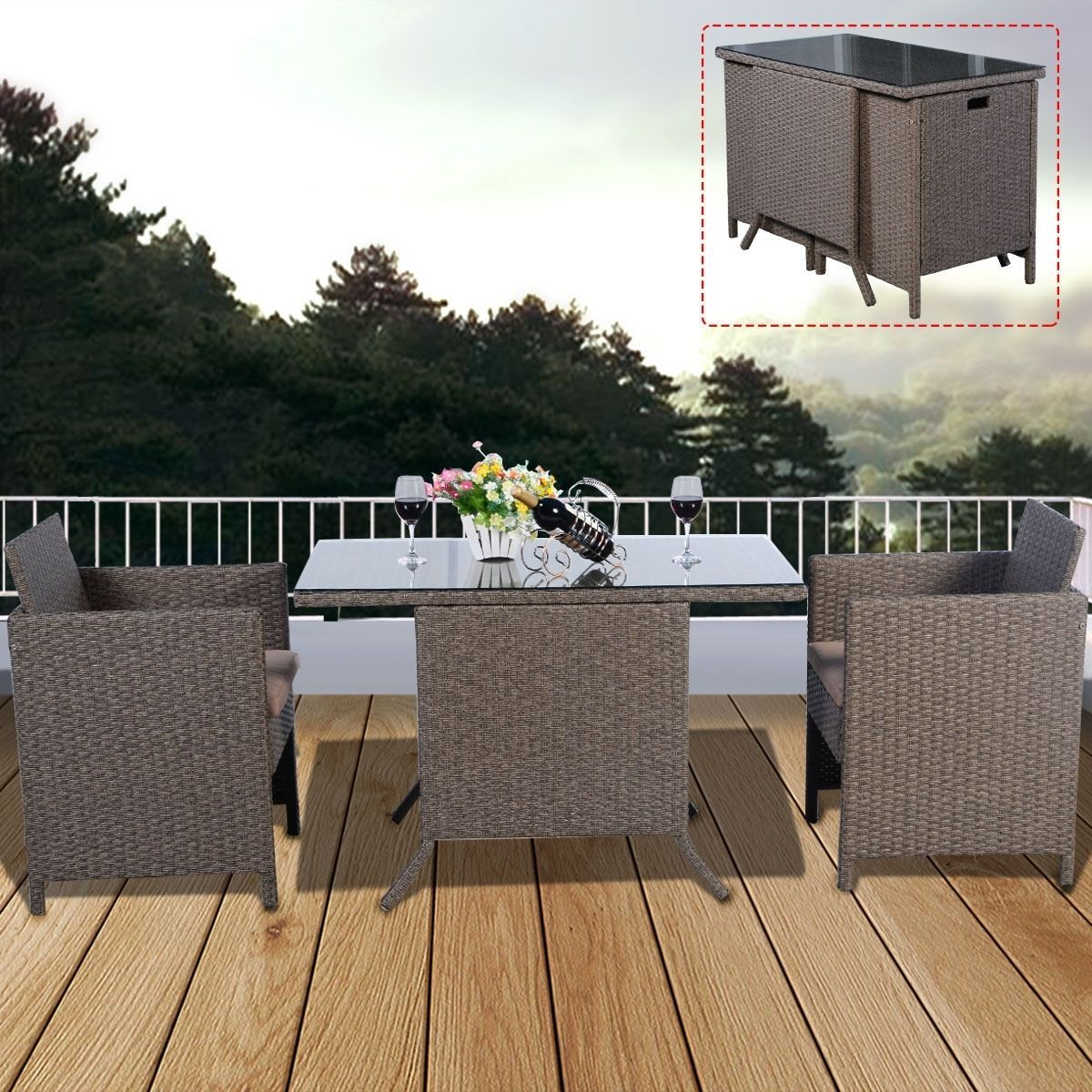 Garden Rattan Set 3pcs Table Chairs Cushioned Outdoor Patio Small Dining Set  image 3