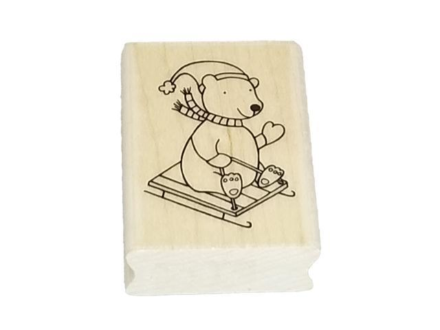 A Muse Artstamps Polar Bear Fun Rubber Stamp